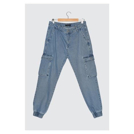 Trendyol Navy Blue Men Loose Fit Cargo Jogger Jeans