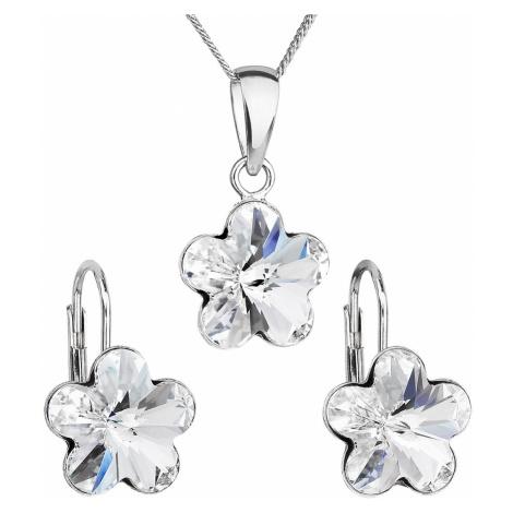 Sada šperků s krystaly Swarovski náušnice, řetízek a přívěsek bílá kytička 39143.1 Victum