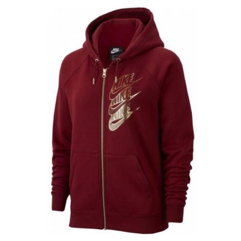 Nike NSW HOODIE FZ BB SHINE W vínová - Dámská mikina