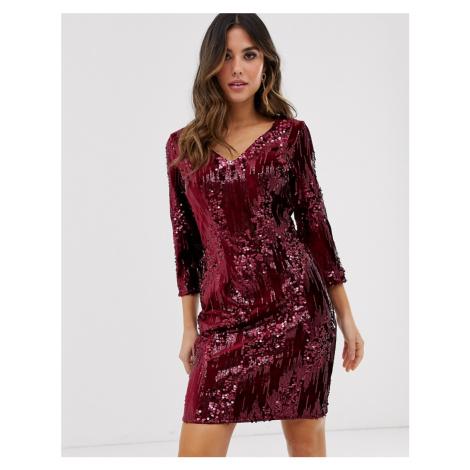 Little Mistress long sleeve velvet sequin embellished bodycon dress-Red