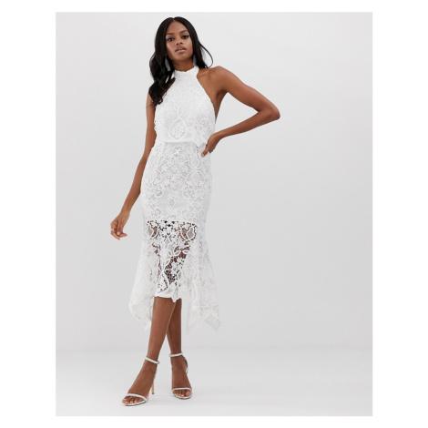 ASOS DESIGN high neck midi dress in guipure lace and peplum-White
