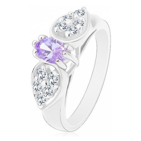 Prsten ve stříbrném odstínu, blýskavá mašlička se světle fialovým oválem