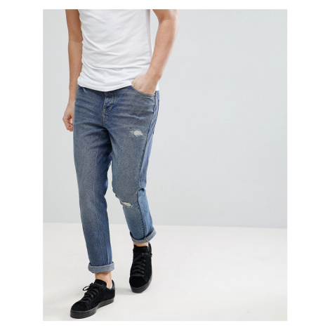 ASOS Skinny Twisted Jeans In Dark Wash Blue With Rip And Repair