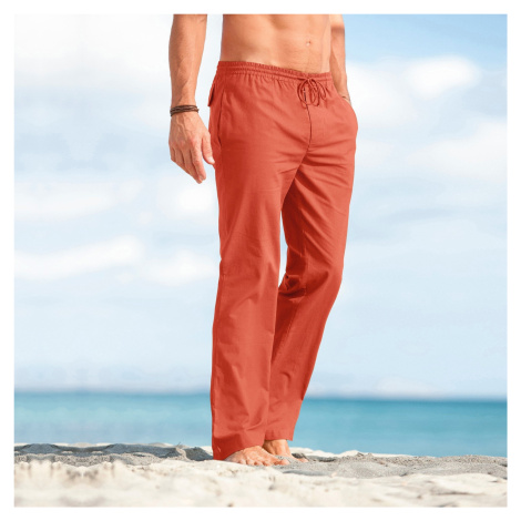 Blancheporte Pohodlné plátěné kalhoty cihlová