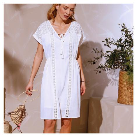 Blancheporte Krátké krepové šaty bílá