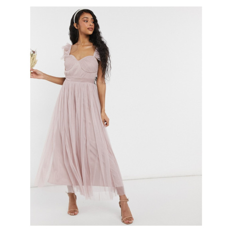 Anaya With Love Bridesmaid tulle frill sleeve midaxi dress in pink