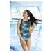 Dámské jednodílné plavky Self S 43 D tmavě modrá-zelená