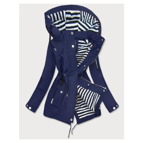 Tmavě modrá dámská bunda s pruhovanou podšívkou (W661BIG)