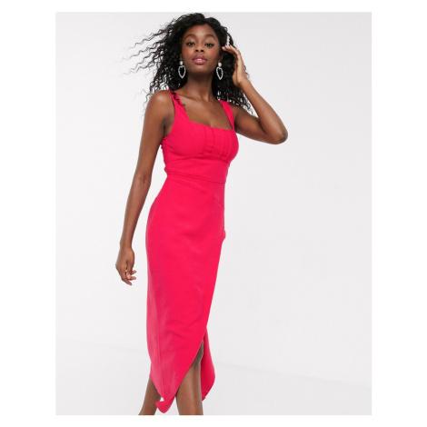 C/Meo Collective Over Again square neck midi dress in fuchsia-Pink