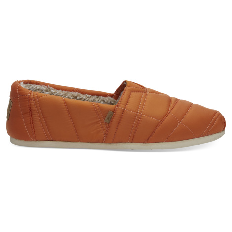 Burnt Orange Quilted Nylon TOMS Venice Collection Men Alpargata
