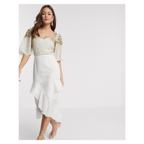 Virgos Lounge embellished midi dress with flutter sleeve and ruffle skirt in ivory-Cream