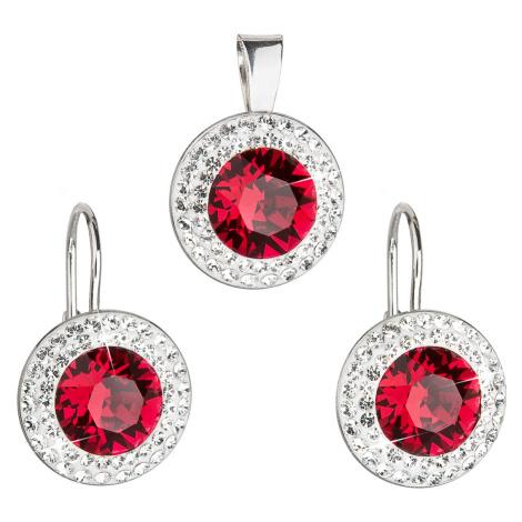Evolution Group Sada šperků s krystaly Swarovski náušnice a přívěsek červené kulaté 39107.3