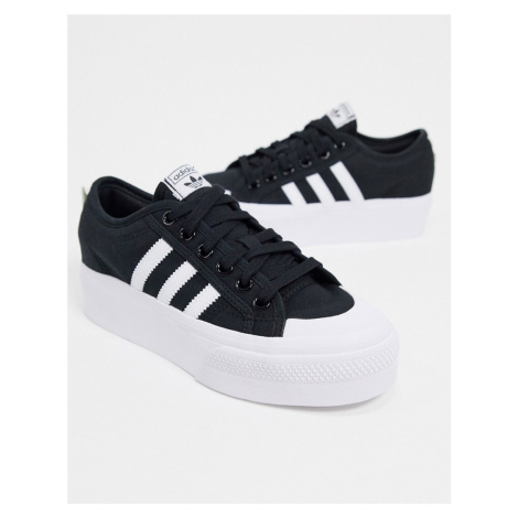 Adidas Originals Nizza platform trainers in black and white