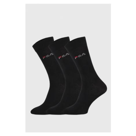 3 PACK černých tenkých vysokých ponožek FILA