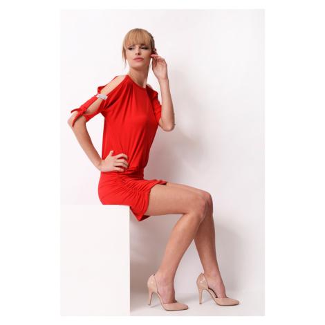 Krátké šaty s mašličkou a flitry na rukávech barva červená Oxyd