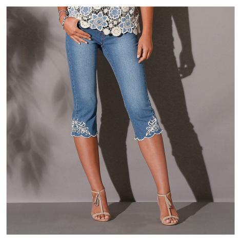 Blancheporte Korzárské kalhoty s výšivkou sepraná modrá