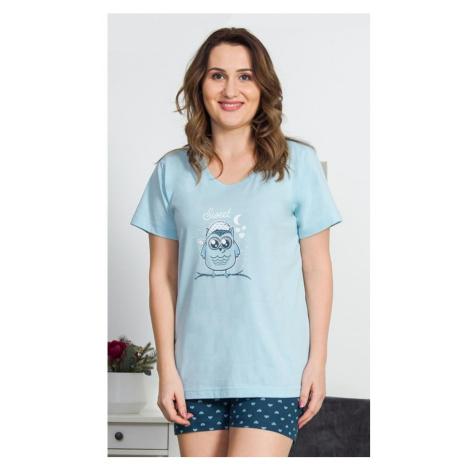 Dámské pyžamo šortky Sova s čepicí, 4XL, lososová Vienetta Secret