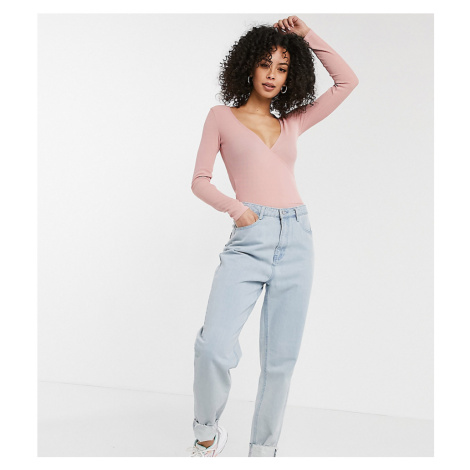 Flounce Tall wrap ribbed body in blush-Pink Flounce London