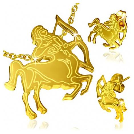 Ocelová sada zlaté barvy, náušnice a přívěsek, znamení Střelec Šperky eshop