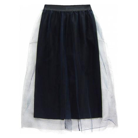 Tmavě modrá tylová sukně s délkou midi (104ART) Made in Italy