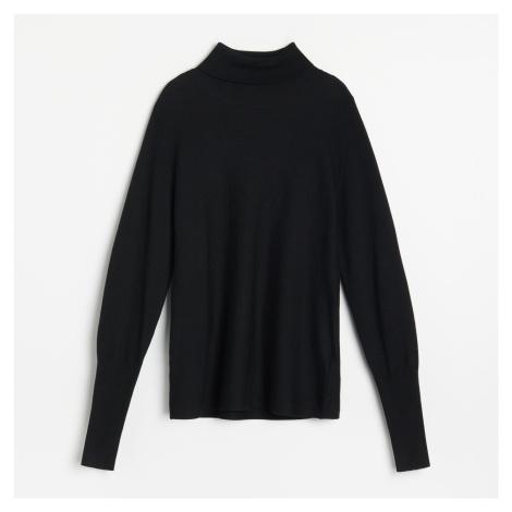 Reserved - Vypasovaný svetr se stojáčkem - Černý