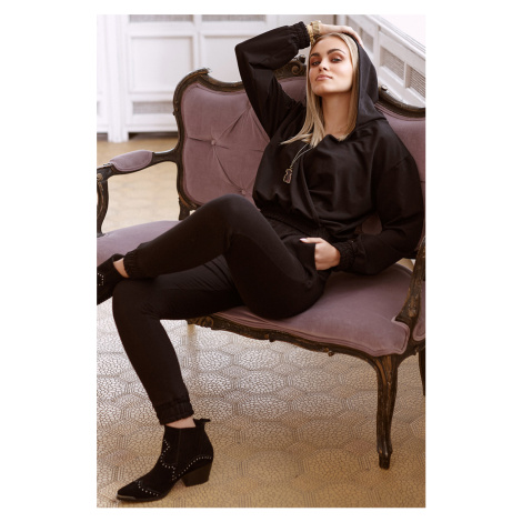 Černý komplet mikina + top + teplákové kalhoty M668 Makadamia