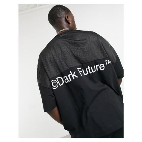 ASOS Dark Future extreme oversized mesh t-shirt in black with logo print