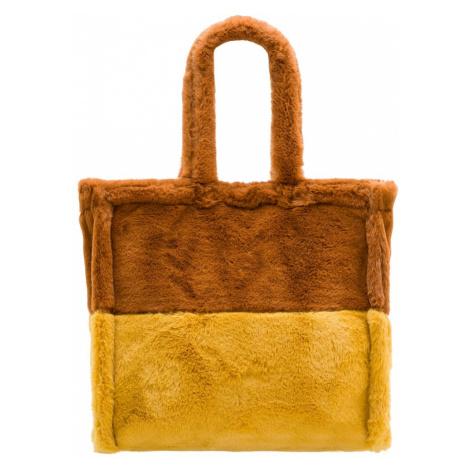 Dámská velká oboustranná kabelka s chlupem hnědo - žlutá