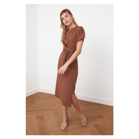 Trendyol Knitted Dress WITH Brown Sleane Detail