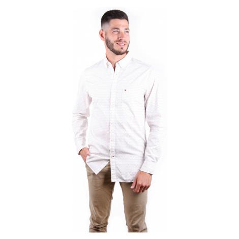 Tommy Hilfiger pánská smetanová košile Argyle Print