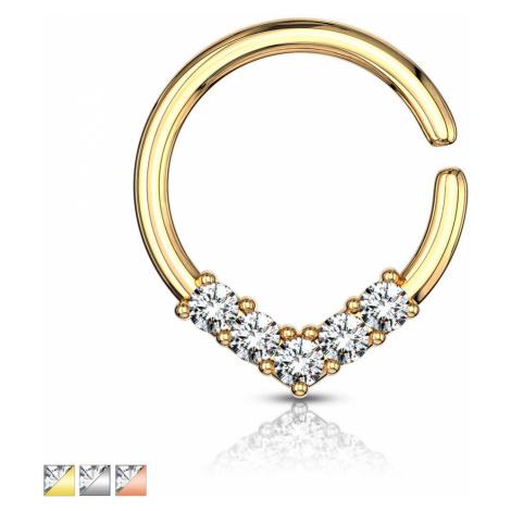 Kulatý piercing do ucha nebo nosu - ozdobná korunka se zirkony, 1 mm - Barva piercing: Zlatá Šperky eshop