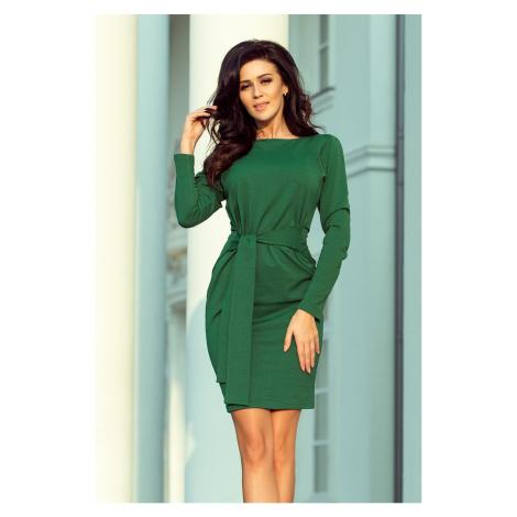 Dámské šaty v lahvově zelené barvě se širokým páskem k zavazování model 6330424 NUMOCO