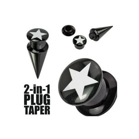 Plug a taper černý STAR - Tloušťka : 6 mm Šperky eshop