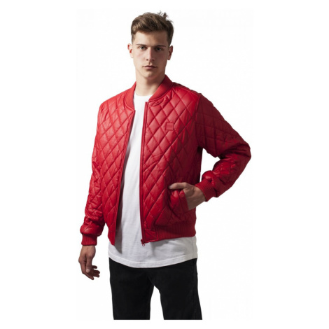 Diamond Quilt Leather Imitation Jacket - fire red Urban Classics