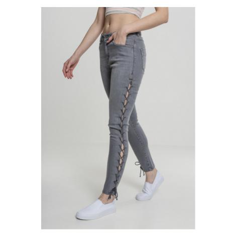 Urban Classics Ladies Denim Lace Up Skinny Pants grey