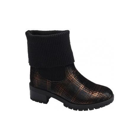 Černé ponožkové kozačky s károvaným vzorem Catwalk