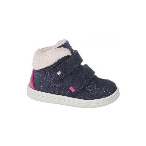 Modrá dětská kožená obuv na suchý zip Elefanten