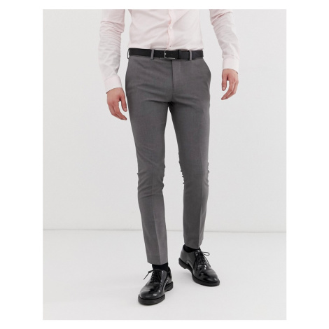 River Island Super Skinny Suit Trousers In Grey