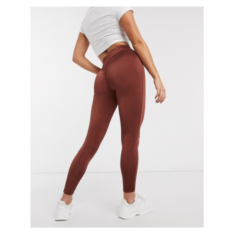 ASOS DESIGN slinky legging with ruched bum detail-Brown