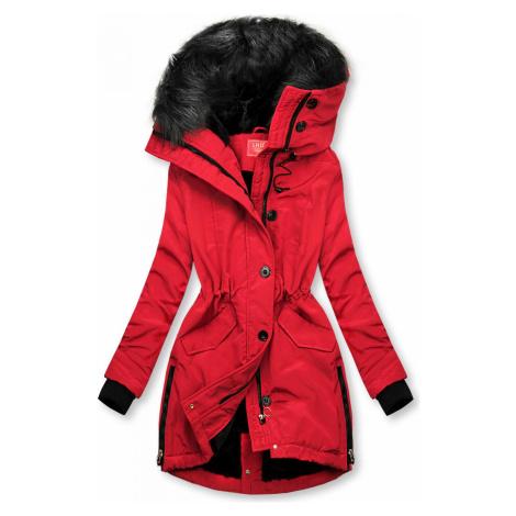 Červená zimní bunda s vysokým límcem Butikovo