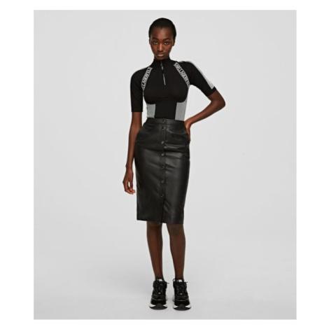 Sukně Karl Lagerfeld Leather Skirt W/ Snaps - Černá