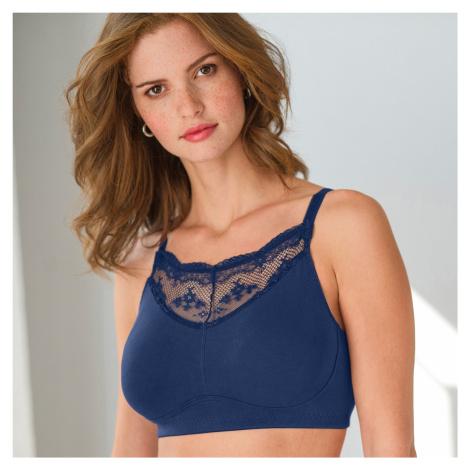 Blancheporte Podprsenka pro ženy po operaci prsu, z bavlny a krajka nám.modrá,koš.C