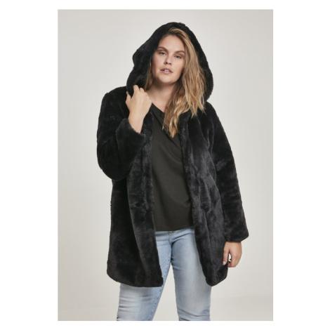 Ladies Hooded Teddy Coat - black Urban Classics
