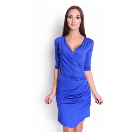 Řasené šaty s véčkovým výstřihem barva modrá Oxyd