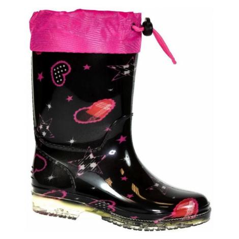 John-C Detské čierno-ružové gumáky CHASI Černá