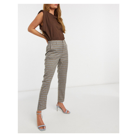 Pull&Bear elasticated waist trouser in brown check