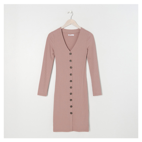 Sinsay - Šaty z úpletové žebrované látky ECO AWARE - Béžová