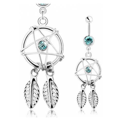 Piercing z oceli 316L, stříbrná barva, lapač snů s pírky, modré zirkony Šperky eshop