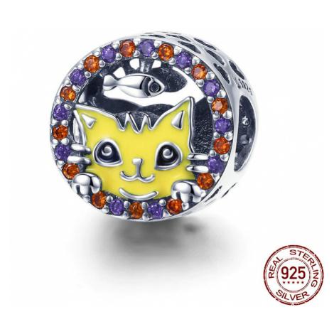 Stříbrný kulatý přívěsek s barevnými kamínky žlutá kočka