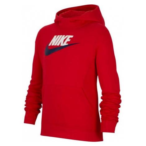Nike NSW PO HOODIE CLUB FLC HBR červená - Chlapecká mikina